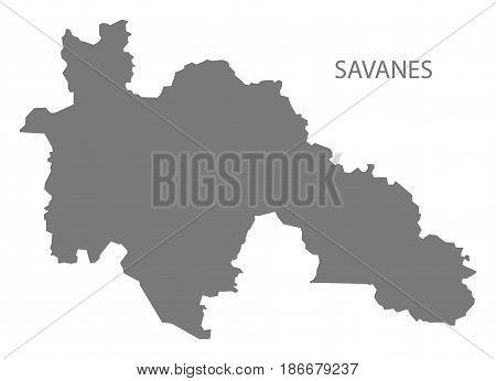 Savanes Ivory Coast Map Grey Illustration Silhouette