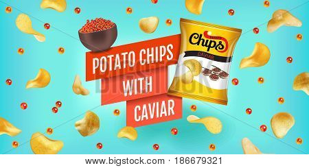 Potato chips ads. Vector realistic illustration of potato chips with caviar. Horizontal banner with product.