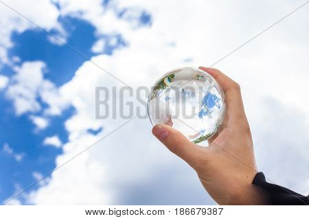 Environment globe earth holding environment protection care conservation
