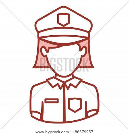 red contour of half body of faceless policewoman vector illustration