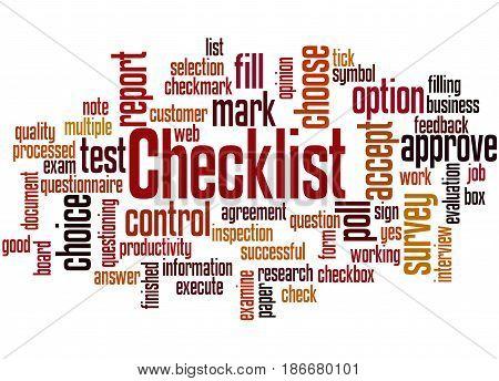 Checklist, Word Cloud Concept