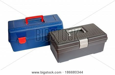 Two tool boxes isolated on white background