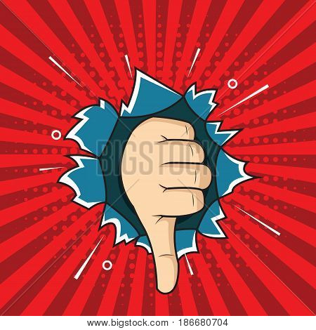 Pop art thumbs down hand sign bad sign comic style illustration. hand through the hole in paper.
