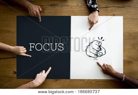 Illustration of pointing finger focus attention