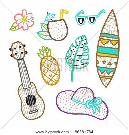 Set of vacation objects. Vector hand drawn illustration