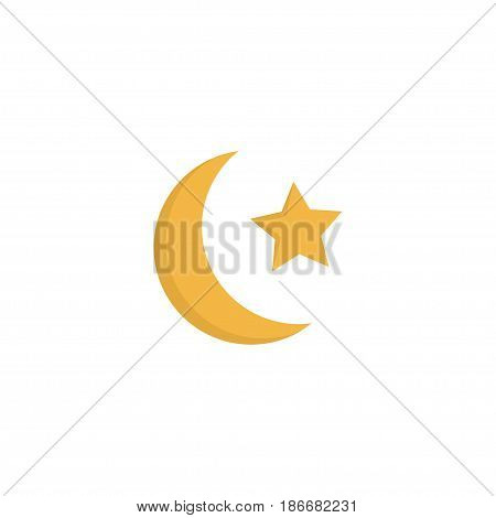 Flat Ramadan Moon Element. Vector Illustration Of Flat New Lunar Isolated On Clean Background. Can Be Used As Ramadan, Moon And Star Symbols.
