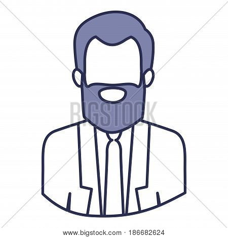 blue contour of half body of faceless bearded man with formal suit vector illustration