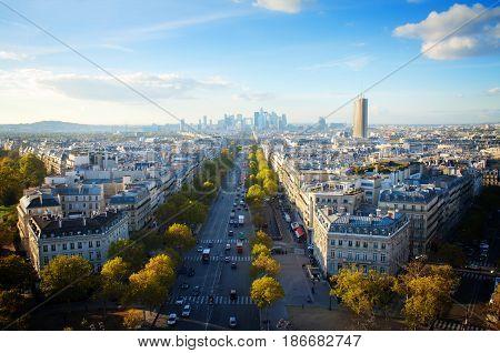 skyline of Paris city place de lEtoile towards La Defense district, France, retro toned