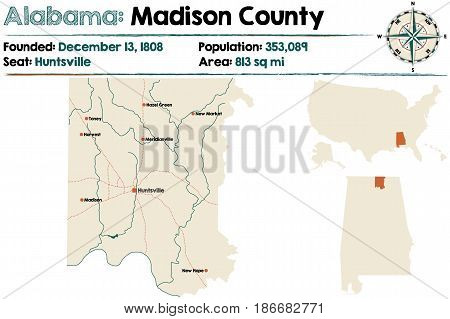 Large and detailed map of Madison County in Alabama.