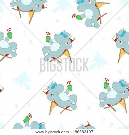 Cute seamless pattern with hippo in the Seashore, vector illustration. Printable template