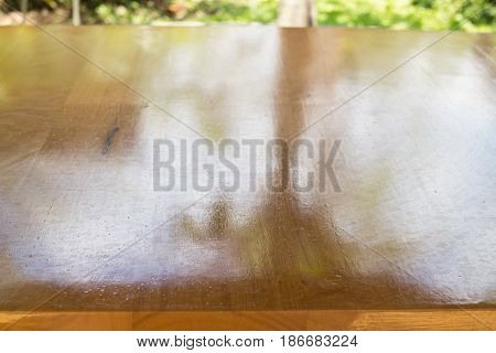 Vanish Brown Hardwood Top Table stock photo
