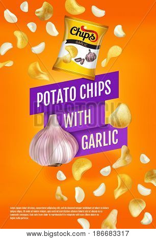 Potato chips ads. Vector realistic illustration with potato chips with garlic. Vertical poster with product.