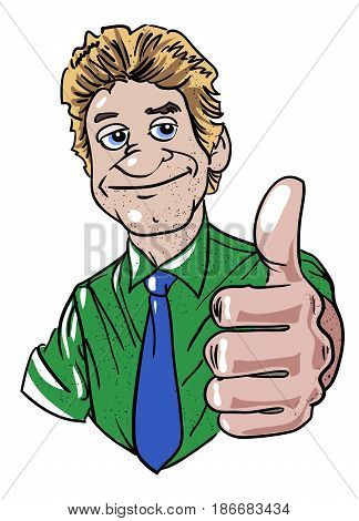Cartoon image of man giving approval. An artistic freehand picture.