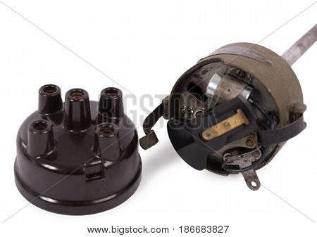 an ignition distributor isolated on white background
