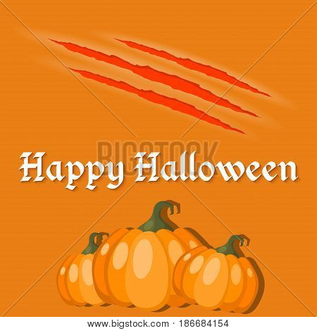 Papers for the holiday Halloween with pumpkins on orange background. Vector illustration.