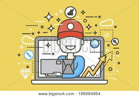 Stock vector illustration peddler parcels carrier man packaging box in hand design, element for delivery service business, discount online order, booking management line art yellow background icon