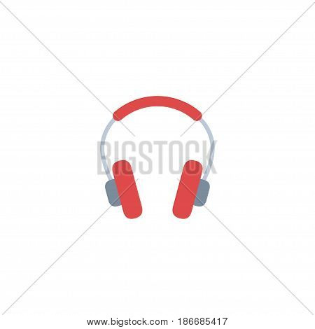 Flat Headphones Element. Vector Illustration Of Flat Earphone Isolated On Clean Background. Can Be Used As Headphones, Earphone And Headset Symbols.