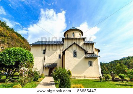 Moraca Monastery, a Serbian Orthodox church in Kolasin, Montenegro. Ancient religious building.