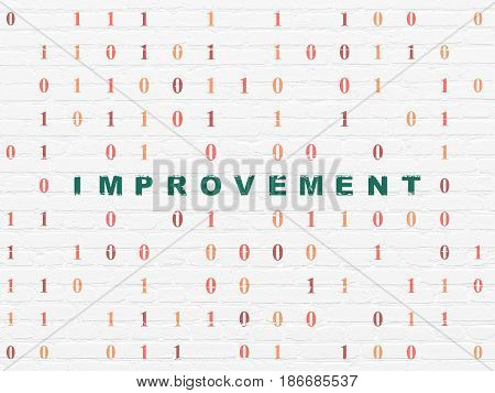 Business concept: Painted green text Improvement on White Brick wall background with Binary Code