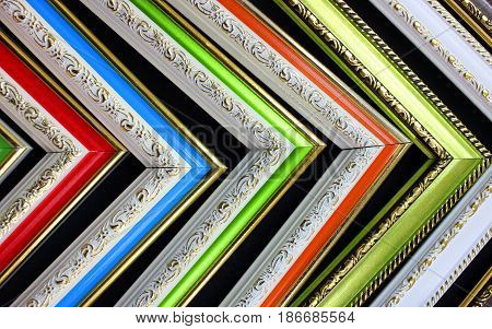 Frames of antique corners, sequence of colors, use as a background