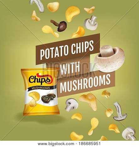 Potato chips ads. Vector realistic illustration with potato chips with mushrooms. Poster with product.