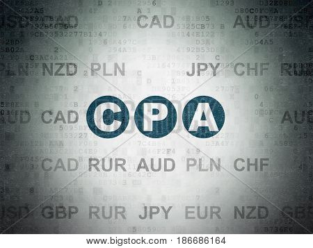 Business concept: Painted blue text CPA on Digital Data Paper background with Currency