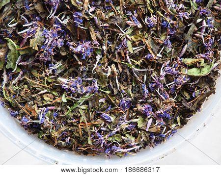 Traditional russian herbal tea from Fireweed leaves: Koporye Tea, Russian Tea or Ivan Chai.