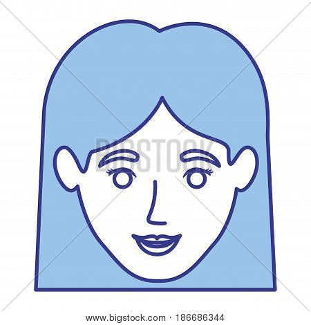 blue silhouette of smiling woman face with straight short hair vector illustration