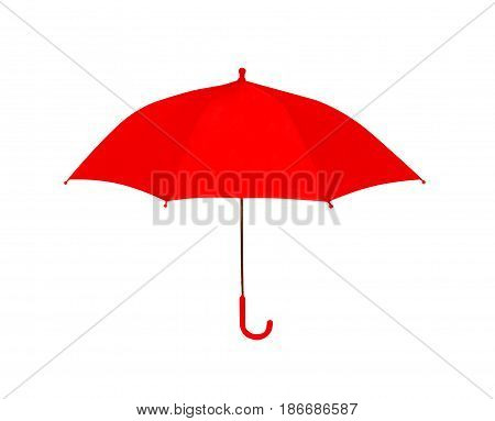 Umbrella red isolated on white background, object of protection against rain