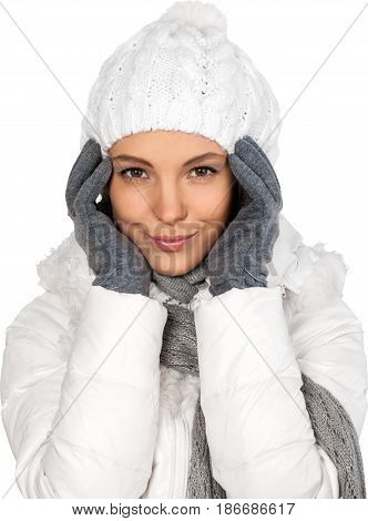 Winter young woman isolated smile smiling female
