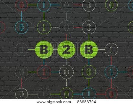 Business concept: Painted green text B2b on Black Brick wall background with Binary Code