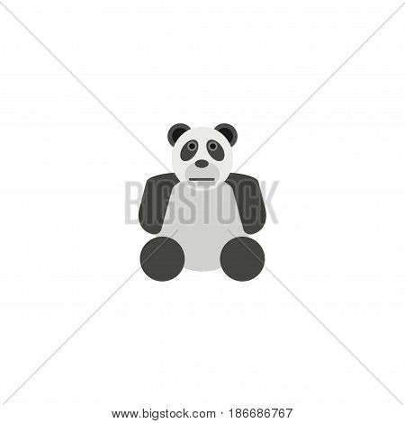 Flat Panda Element. Vector Illustration Of Flat China Bear Isolated On Clean Background. Can Be Used As Panda, Bear And Animal Symbols.