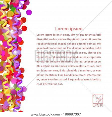Confetti and streamers isolated on white background. The Festive postcard. Vector illustration.