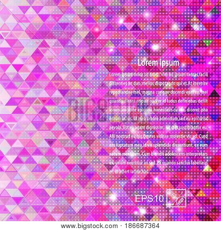 Abstract purple background with geometric elements triangle. Vector illustration.