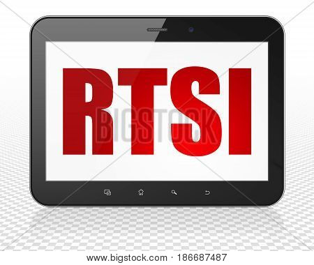 Stock market indexes concept: Tablet Pc Computer with red text RTSI on display, 3D rendering
