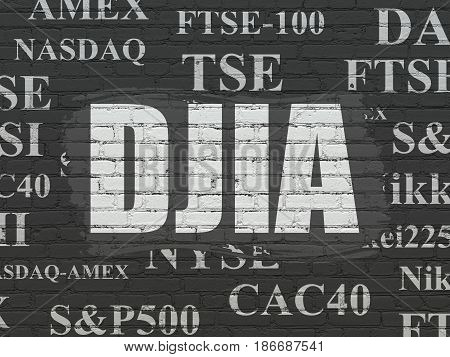 Stock market indexes concept: Painted white text DJIA on Black Brick wall background with  Tag Cloud