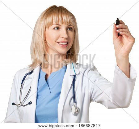 Doctor physician writing dry erase marker woman female female doctor