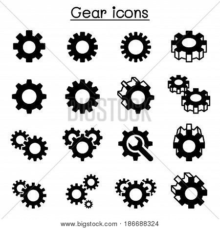 Gear Repair fixing icon set vector illustration