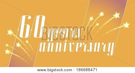 60 years anniversary vector icon logo. Graphic design element or banner for 60th anniversary
