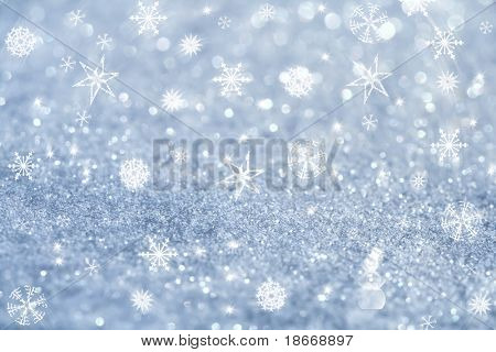 light blue snowflakes and glitter sparkles background , super macro shot, shallow DOF