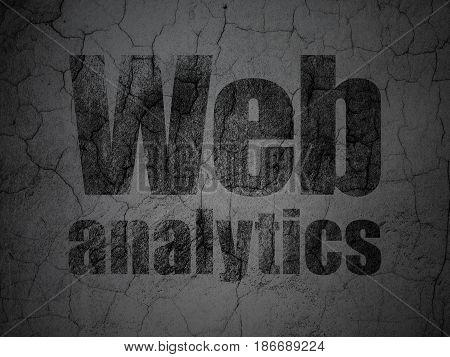 Web design concept: Black Web Analytics on grunge textured concrete wall background