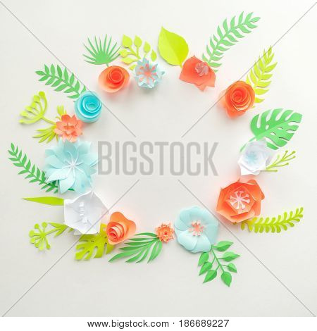 Round Frame With Color Paper Flowers On The White Background. Flat Lay. Nature Concept