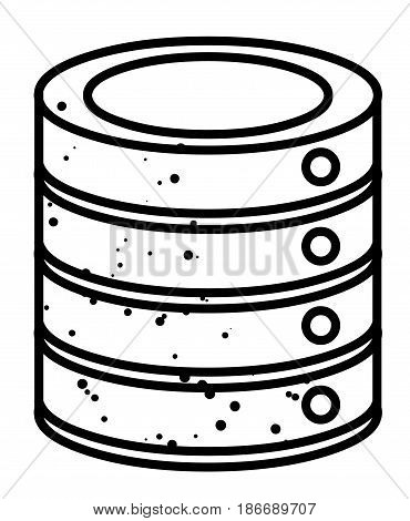 Cartoon image of Database Icon. An artistic freehand picture.