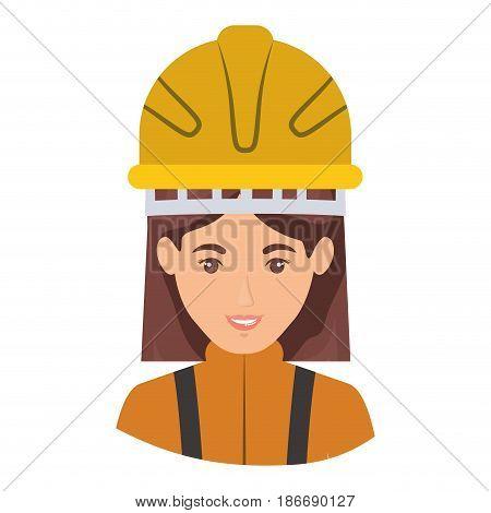 colorful portrait half body of female firefighter vector illustration