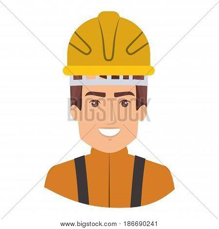 colorful portrait of half body firefighter vector illustration