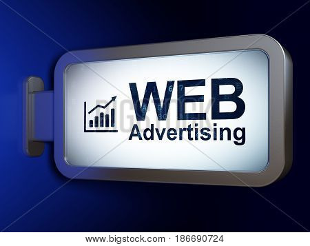 Marketing concept: WEB Advertising and Growth Graph on advertising billboard background, 3D rendering