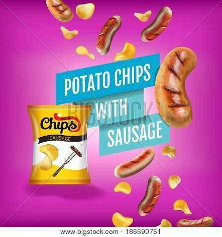 Potato chips ads. Vector realistic illustration with potato chips with sausage. Poster with product.