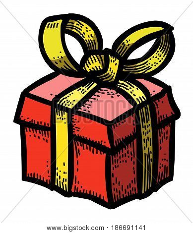 Cartoon image of Gift box Icon. Present symbol. An artistic freehand picture.