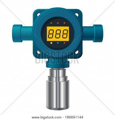 Vector gas detector. Blue gas meter with digital LCD display. Low poly toxic gas consumption, sensor heater with adjustable values. Safety sensor against poisoning with gas programmable alarm relays
