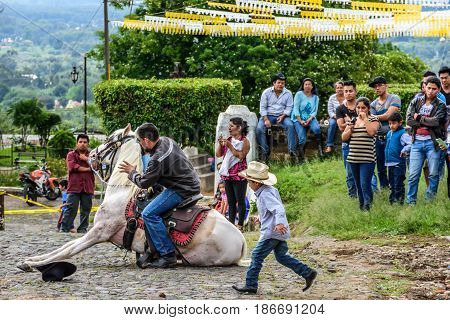 San Juan del Obispo, Guatemala - June 12 2016: Cowboy makes horse lie down as part of show in horse street parade in village near Antigua, Guatemala